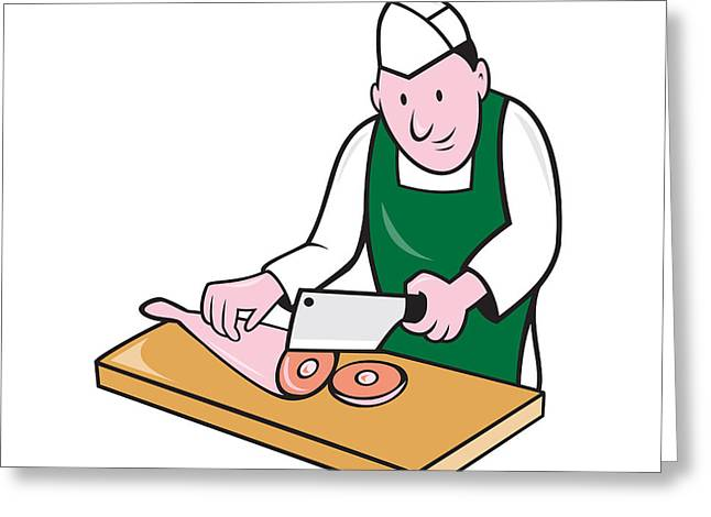Butcher Knife Greeting Cards - Butcher Chopping Meat Cartoon Greeting Card by Aloysius Patrimonio