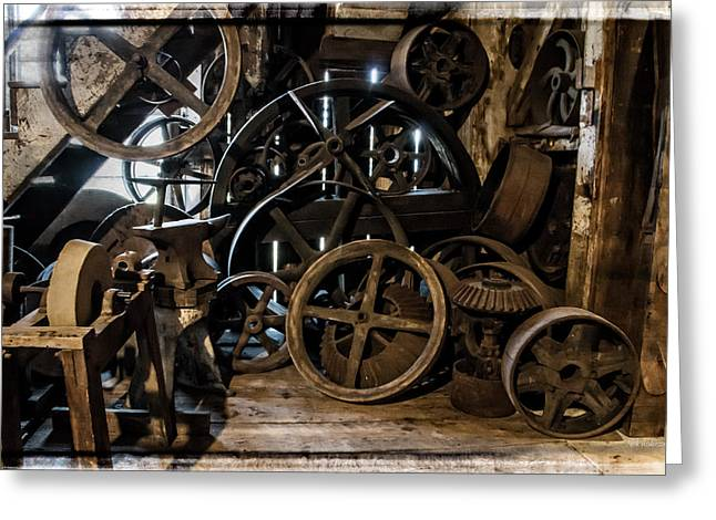 Mick Anderson Greeting Cards - Butte Creek Mill Interior Scene Greeting Card by Mick Anderson