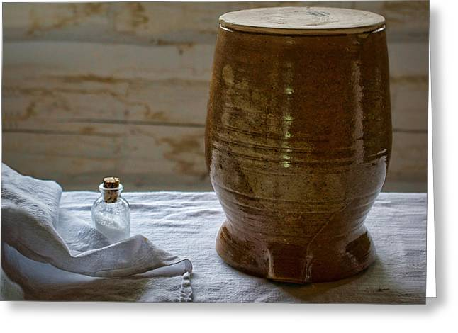 Old Crocks Greeting Cards - Butter Makers Crock and Salt Greeting Card by Nikolyn McDonald