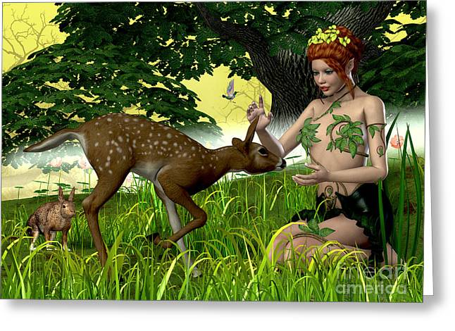 Folktale Greeting Cards - Buttercup Fairy and Forest Friends Greeting Card by Corey Ford