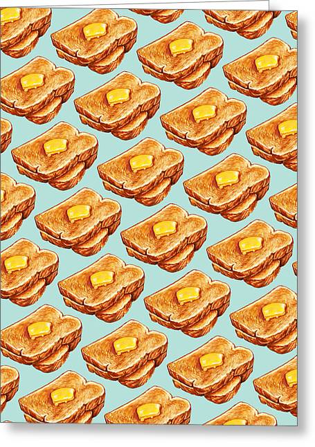 Toaster Greeting Cards - Buttered Toast Pattern Greeting Card by Kelly Gilleran