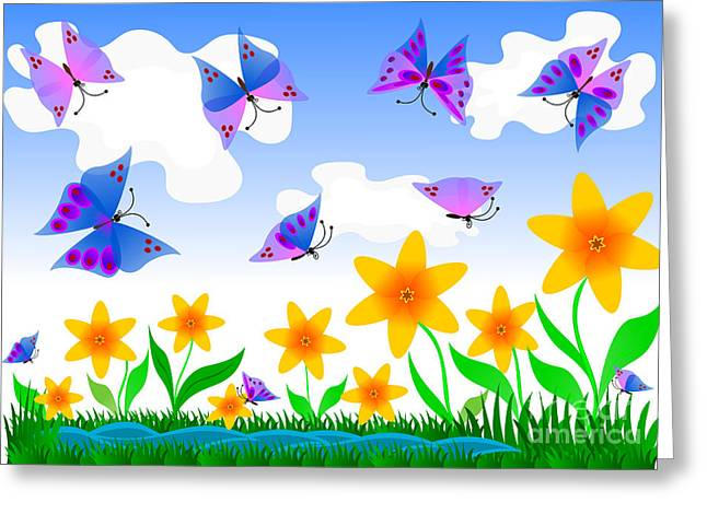 Childish Dreams Greeting Cards - butterflies and flowers. Childish Greeting Card by Skyfish Images