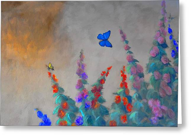 Soft Light Digital Art Greeting Cards - Butterflies And Hollyhocks Greeting Card by Jan Amiss Photography