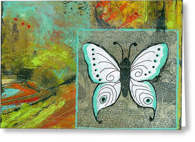 Abstract Expressionist Mixed Media Greeting Cards - Butterflies Are Free Greeting Card by Blenda Studio