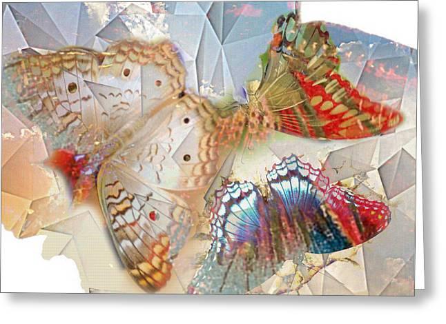 Lynda Payton Greeting Cards - Butterflies Geometric 2 Greeting Card by Lynda Payton