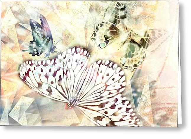 Lynda Payton Greeting Cards - Butterflies Geometric 4 Greeting Card by Lynda Payton