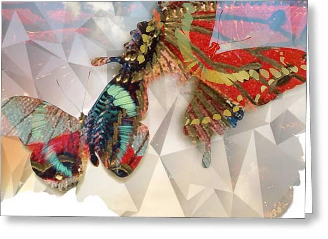 Lynda Payton Greeting Cards - Butterflies Geometric Greeting Card by Lynda Payton