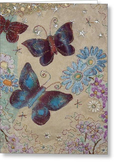 Threads Tapestries - Textiles Greeting Cards - Butterflies Greeting Card by Hazel Millington