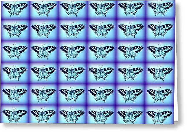 Cushions Drawings Greeting Cards - Butterflies In Blue Greeting Card by Cathy Jacobs