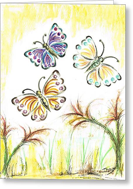 Hovering Mixed Media Greeting Cards - Butterflies in Spring Greeting Card by Teresa White