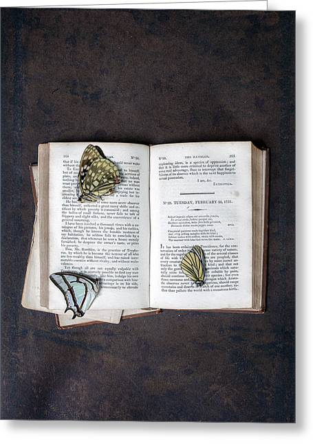 Book Greeting Cards - Butterflies On Book Greeting Card by Joana Kruse