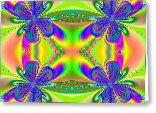 Abstract Rose Oval Greeting Cards - Butterflies Welcoming Spring Fractal Greeting Card by Rose Santuci-Sofranko