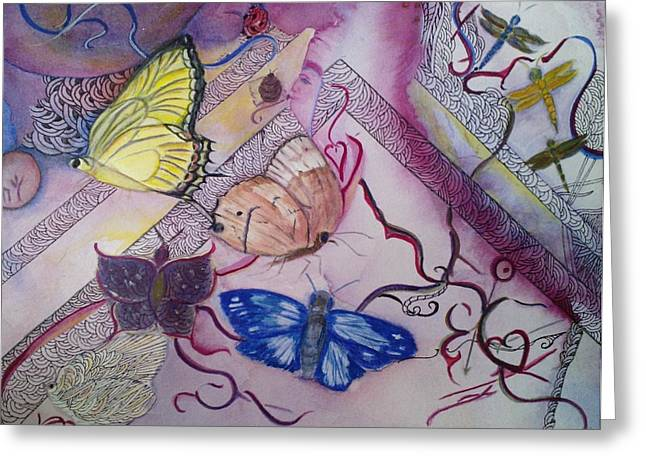 Hebert Greeting Cards - Butterflies With Dragonflies Greeting Card by Marian Hebert