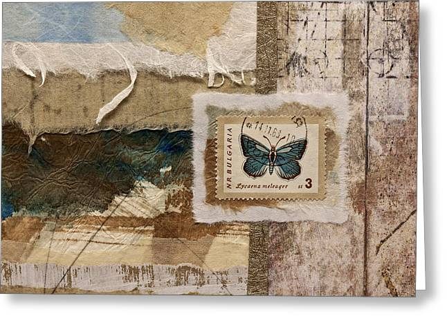 Sepia Mixed Media Greeting Cards - Butterfly and Blue Collage Greeting Card by Carol Leigh