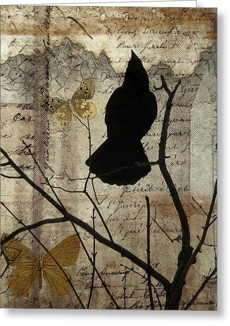Crow Collage Greeting Cards - Butterfly And Crow Collage Greeting Card by Gothicolors Donna Snyder
