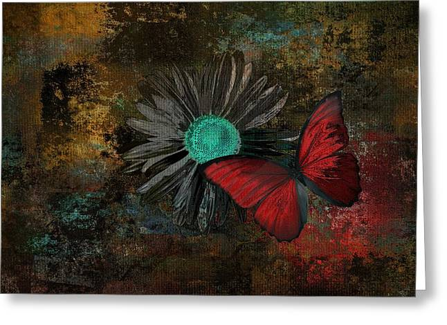 Dark Turquoise Greeting Cards - Butterfly and Daisy - 09at2b Greeting Card by Variance Collections