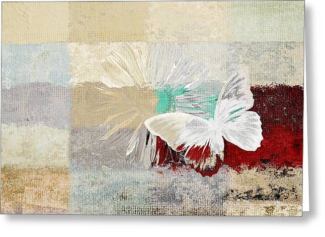 Beige Abstract Greeting Cards - Butterfly and Daisy - 140109109w1t2a Greeting Card by Variance Collections