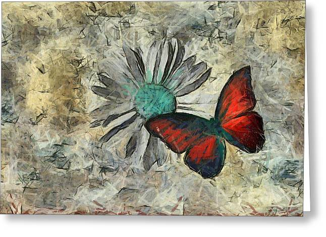Off-white Greeting Cards - Butterfly and Daisy - ftd01t01 Greeting Card by Variance Collections