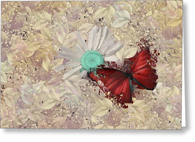 Beige Abstract Greeting Cards - Butterfly and Daisy - s3001a Greeting Card by Variance Collections