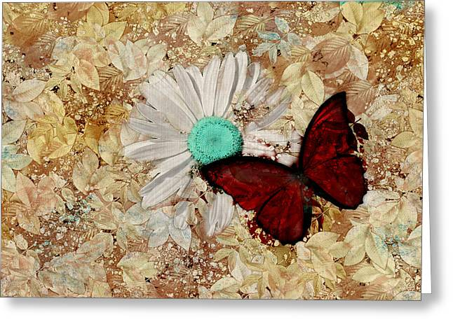 Beige Abstract Greeting Cards - Butterfly and Daisy - s3003c Greeting Card by Variance Collections