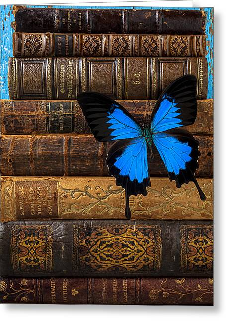 Book Collection Greeting Cards - Butterfly and old books Greeting Card by Garry Gay