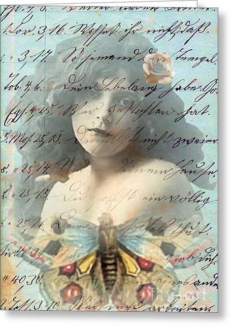 Desiree Rose Greeting Cards - Butterfly and Rose Greeting Card by Desiree Paquette