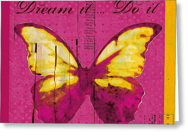 Square Format Greeting Cards - Butterfly ARt _ Dream It Do It _ 09-didfr01 Greeting Card by Variance Collections