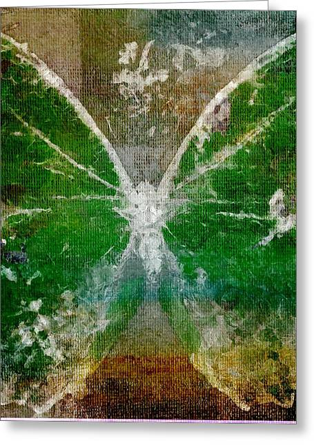 Vibrant Green Greeting Cards - Butterfly Art - d05t02 Greeting Card by Variance Collections