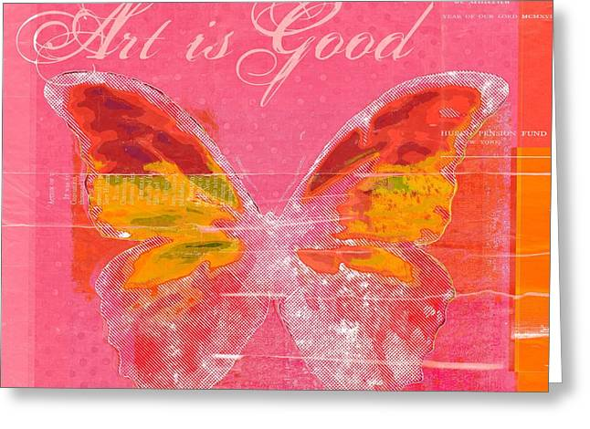 Square Format Digital Greeting Cards - Butterfly Art - p11aig13a_ Art is Good Greeting Card by Variance Collections