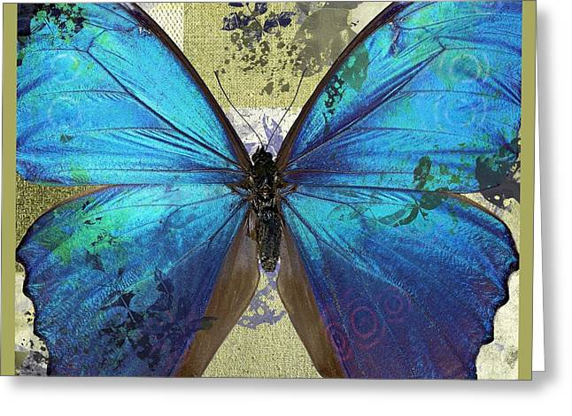 Blue Butterfly Greeting Cards - Butterfly Art - s01bfr02 Greeting Card by Variance Collections