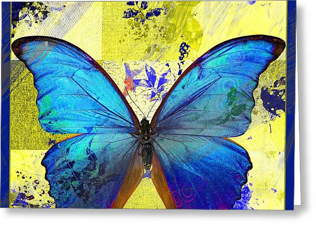 Green Leafs Greeting Cards - Butterfly Art - s14avbt01 Greeting Card by Variance Collections