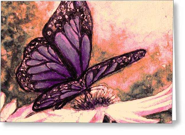 Sunlight On Flowers Greeting Cards - Butterfly at Sunset Greeting Card by Hazel Holland