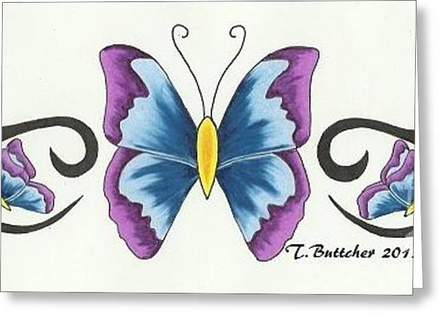 Tattoo Flash Greeting Cards - Butterfly Back Piece Greeting Card by Tiffany Buttcher