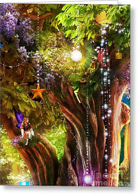 Bizarre Digital Art Greeting Cards - Butterfly Ball Tree Greeting Card by Aimee Stewart