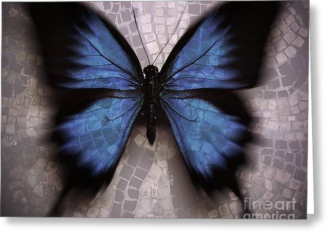 Morphing Digital Greeting Cards - Butterfly Becomes the Mosaic  Greeting Card by Elizabeth McTaggart