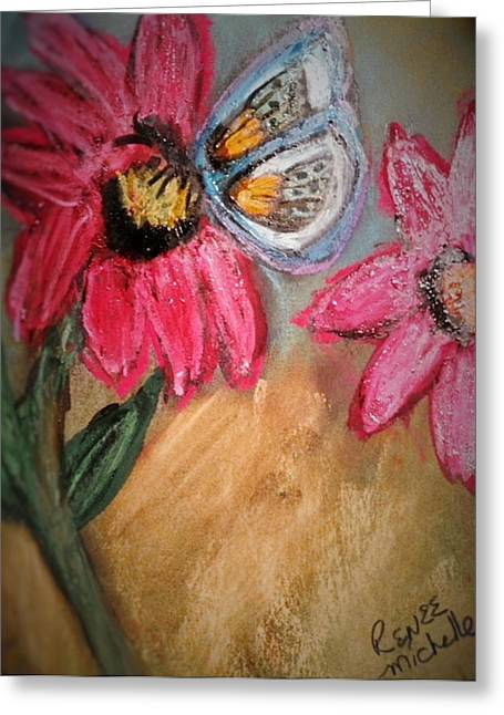 Butterflies Pastels Greeting Cards - Butterfly Breakfast Greeting Card by Renee Michelle Wenker