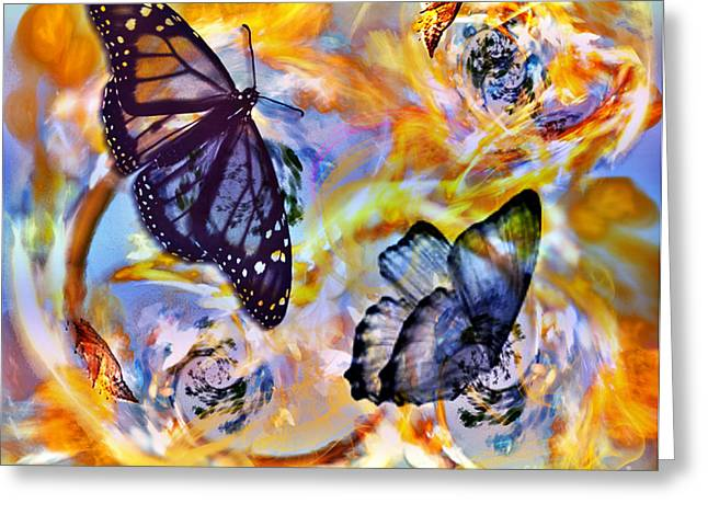 Cocoon Greeting Cards - Butterfly Circle of LIfe Greeting Card by Linda Troski