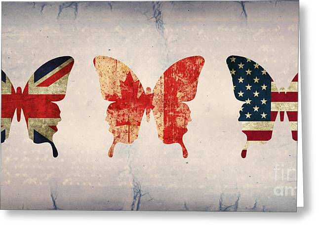 Butterflies Mixed Media Greeting Cards - Butterfly Collection Flags 2 Greeting Card by Steffi Louis