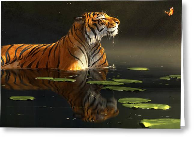 Tigers Digital Greeting Cards - Butterfly Contemplation Greeting Card by Aaron Blaise