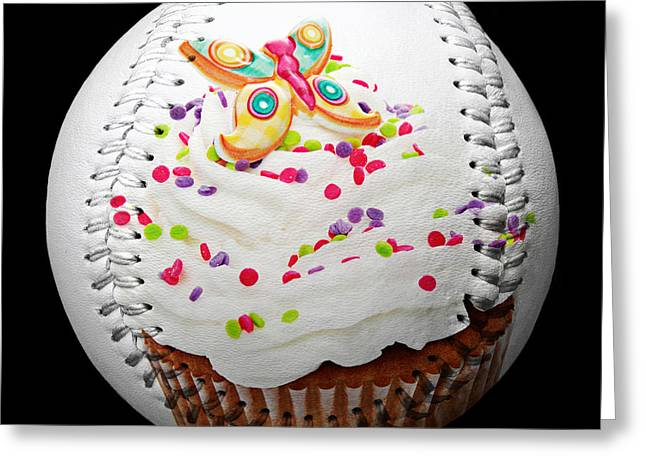 Frosting Greeting Cards - Butterfly Cupcake Baseball Square Greeting Card by Andee Design