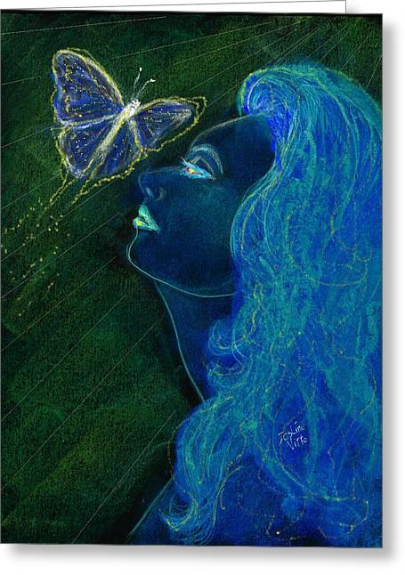 Mainly Blue Greeting Cards - Butterfly Dreams Greeting Card by Desline Vitto
