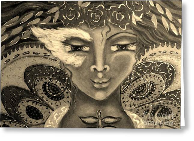 Winged Goddess Mixed Media Greeting Cards - Butterfly Dreams Greeting Card by Maya Telford