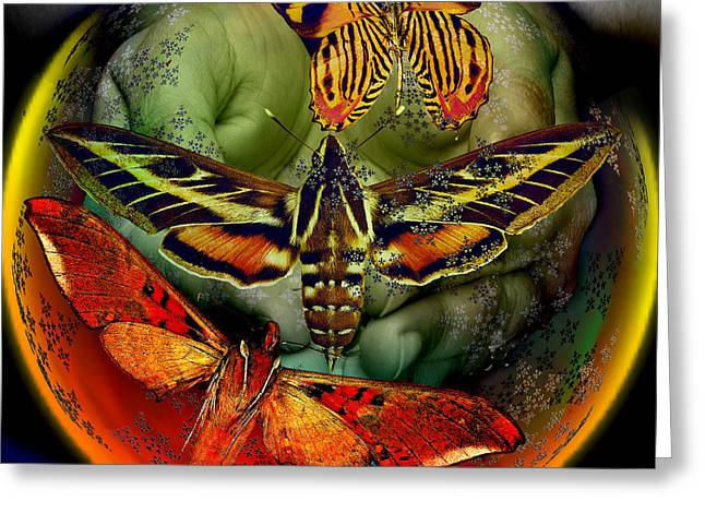 Renewing Digital Art Greeting Cards - Butterfly Effect Blue Planet Greeting Card by Joseph Mosley