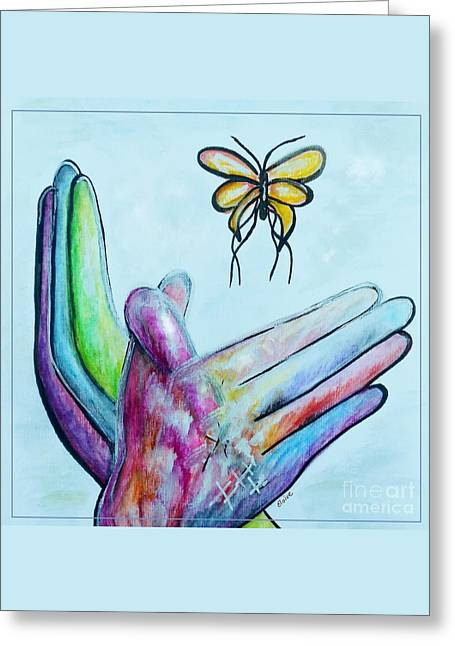 Peace Sign Greeting Cards - Butterfly Greeting Card by Eloise Schneider