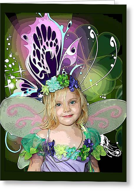 Flower Pink Fairy Child Greeting Cards - Butterfly Fairy Greeting Card by Ellen Henneke
