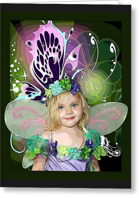 Youth Mixed Media Greeting Cards - Butterfly Fairy Greeting Card by Ellen Henneke