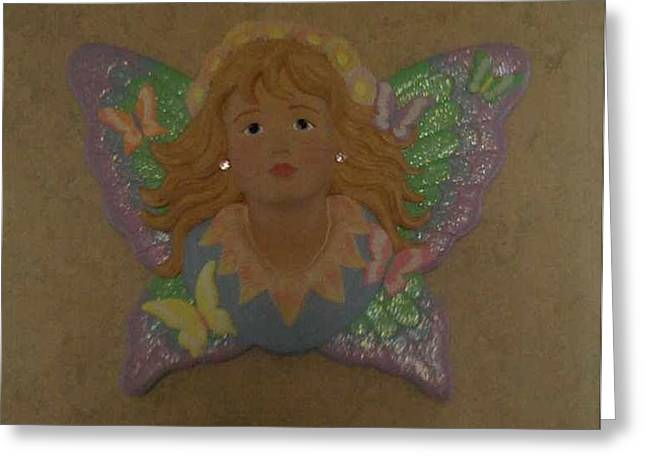 Fairies Ceramics Greeting Cards - Butterfly fairy in 3-d Greeting Card by Rachel Eckert