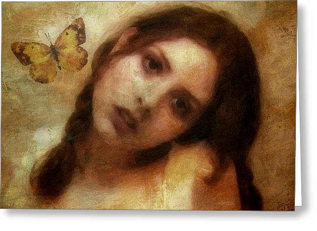 Woman Head Greeting Cards - Butterfly farewell Greeting Card by Gun Legler