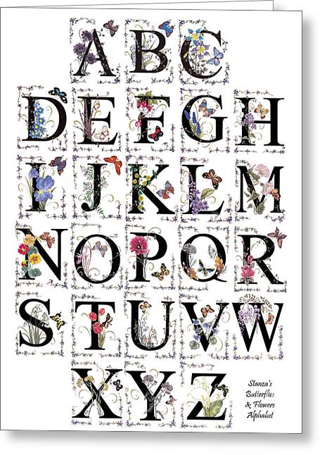 D.w. Mixed Media Greeting Cards - Butterfly Flower Alphabet Greeting Card by Stanza Widen