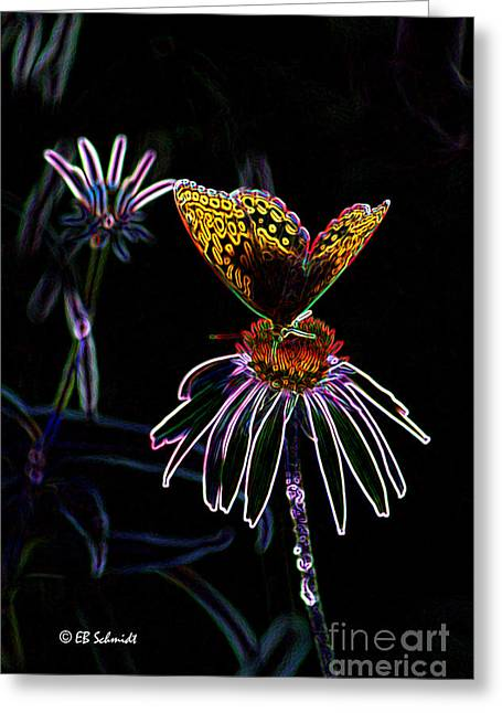 Abstracted Coneflowers Greeting Cards - Butterfly Garden 03 - Great Spangled Fritillary Greeting Card by E B Schmidt